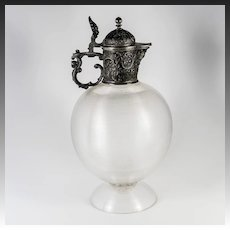 "Antique French Thread Glass Claret Jug, 10"" Tall, Etain (White Metal) Bas Relief Lid Mount, Gorgeous!"