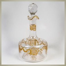 Antique French Liqueur Decanter, Raised Gold Enamel, Napoleon III c. 1870s