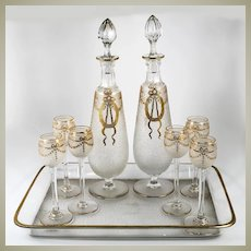 Fine Antique French Aperitif, Liqueur Service, St. Louis, Engraved and Gold Enamel Work, c.1890-1910
