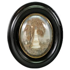 """Exceptionally Fine Antique 19th c. French Hair Art Mourning Icon, Tomb, etc., in 7.5"""" Frame"""
