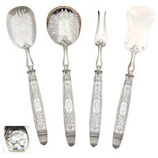 """Antique French Sterling Silver 4pc Hors d'Oeuvre Serving Set, Empire or Classical Pattern, """"CD"""" Monograms"""