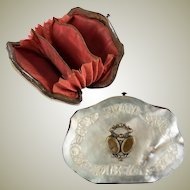Antique French Coin Purse, Carved Mother of Pearl (Nacre), Napoleon III era w Silk Interior, VGC