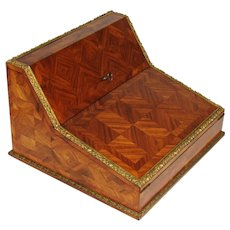 Superb Antique French TAHAN Marked Kingwood Marquetry Ecritoire, Writing Box, Lap Desk