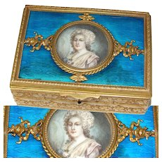 Antique Napoleon III Era Gilt Bronze & Guilloche Enamel Jewel Casket Box, Portrait Miniature