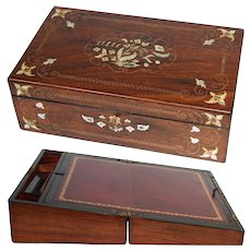 "Exquisite Antique Napoleon III Era 16"" Rosewood Writer's Campaign Box, Lap Desk, Slope: Figural Mother of Pearl & Brass Inlay"