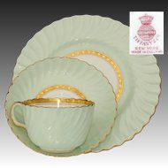 "Fabulous Vintage Minton for Tiffany & Co. 36pc Tea Cup, Saucer & 8"" Dessert Plate Set, ""Somerset Green"" Pattern, Gold Enamel"