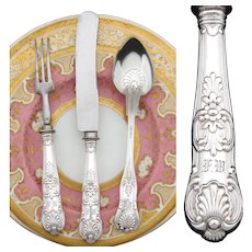 "Antique Continental .800 (nearly sterling) Silver 3pc Flatware Set, in Box: ""FW"" Monograms, Seashell Pattern"