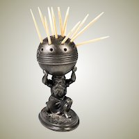 Antique Silver Plated Reed & Barton Victorian Era Toothpick Stand, Figural, Atlas & World Globe