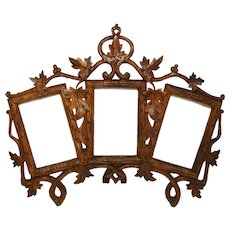"Antique Black Forest Carved 11.5"" Triple Picture Frame, Carte d'Visite Size, Vines & Foliage"