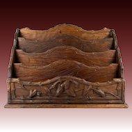"BIG Antique HC Wood Swiss Black Forest 13"" Stationery Stand, Desk Organizer, Caddy"