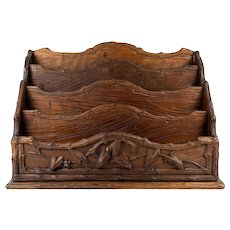 "BIG Antique HC Wood Swiss Black Forest 13"" Stationery Stand, Desk Organizer, Caddy"