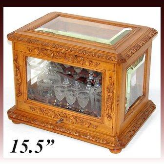 "Antique Black Forest 15.5"" Liquor Tantalus, Cave a Liqueur, Hunt & Pastoral Themed Accents, Thick Beveled Glass"