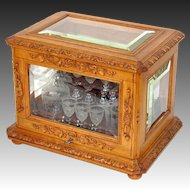 "Antique Black Forest 15.5"" Liquor Tantalus, Cave a Liqueur, Hunt & Pastoral Themed Accents, Thick Beveled Glass"