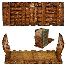 "Antique Black Forest Hand Carved 11.5"" Telescoping Book Rack, Picket Fence Look"