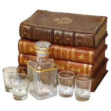 Antique French Leather Bound Books Mini Bar, Tantalus, Decanter & 4 Shot Cups
