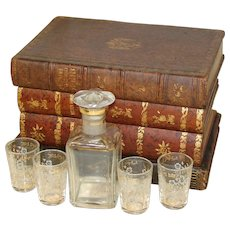 Antique French Leather Bound Books Mini Bar, Tantalus, Box: Decanter & Shot Cups