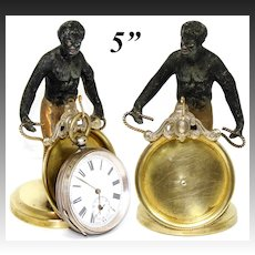 Antique French Blackamoor Male Figure, a Figural Pocket Watch Display Stand