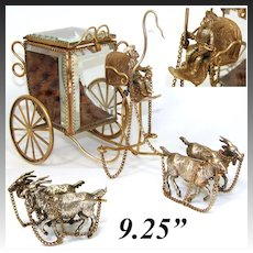 "Rare Antique French Ormolu & Beveled Glass 9.25"" Pocket Watch Display, a Chimp Driven Carriage"