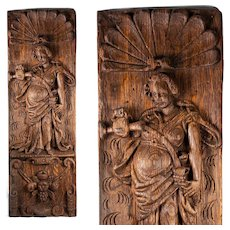 "Antique Hand Carved 20"" Tall Panel of Oak, c.late 1700s to early 1800s, Neoclassical Figural"