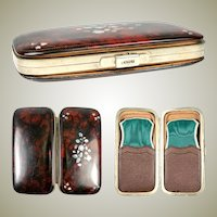 Antique French Cigar Case, Etui, Papier Mache with Mother of Pearl Inlays, Napoleon III