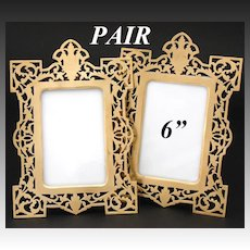 PAIR of Antique French Napoleon III Carte d'Visite Sized Picture Frames, Reticulated, Easel Stands