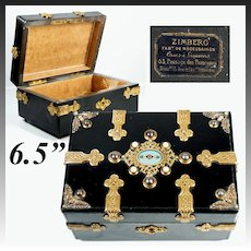 Antique French Jewelry Box, Casket, Napoleon III Era with Kiln-fired Enamel Cabochons, Shop Label: Passages