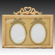 "Charming Vintage French Empire Style 3.25"" Double Picture Frame, Celluloid & Gold Enamel Mat"