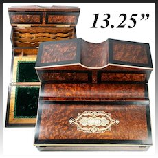 "Fine Antique French Writer's Desk, Chest, 13.25"" Napoleon III Era, Exotic Woods, Boulle"