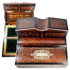 "Fine Antique French Writer's Desk, Chest, 13.25"" Napoleon III Era, Exotic Woods, Boulle"