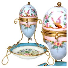 "Antique French Napoleon III Era 6"" Sevres Style Porcelain 'Egg' Casket, Floral with Butterfly"