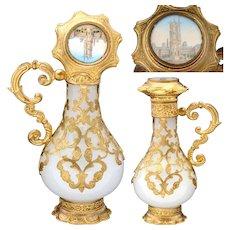 "Superb 4.25"" Tall Paris Grand Tour Souvenir Eglomise, White Opaline & Gilt Perfume Bottle"
