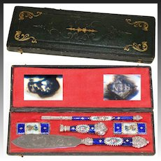 Antique French Hallmarked Silver & Kiln-fired Enamel Pen Set, Writer's Gift Set, c.1800, Seal, Letter Opener