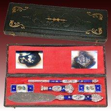 Antique French Hallmarked Silver & Kiln-fired Enamel Pen Set, Writer's Gift Set, c.1800, Seal, Letter Opener