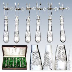 Antique French Sterling Silver 6pc Manche a Gigot or Lamb Serving Implement Set, Louis XVI Style