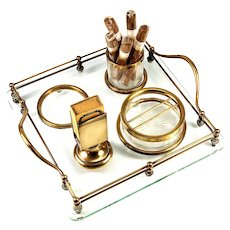 Antique French Smoker's Stand, Caddy, Ashtray and Cigar or Cigarette & Match Holder, Glass