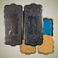 "RARE Antique French Cigar Case in Gutta Percha, Hunt and Music Scenes and EC, 6"""