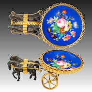 Antique French Palais Royal Horse Carriage, Painted Porcelain & Ormolu Jewelry or Thimble Holder
