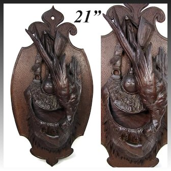 "Fine Large Antique HC Wood Black Forest Hunt Theme Wall Plaque, Pheasant, Game Scene & Pouch, 20.75"""