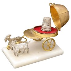 Antique French Palais Royal Thimble Case, Miniature Goat Pulled Cart, Jockey or Riding Cap