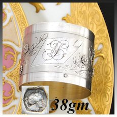 Antique French .800 (nearly sterling) Silver Napkin Ring, Elegant Engraved Foliage & Applied Flowers