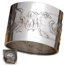 Antique French .800 (nearly sterling) Silver Napkin Ring, Ornate Louis XVI Pattern, Floral Accenting