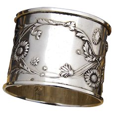 """Antique French Sterling Silver 2"""" Napkin Ring, Ornate Bas Relief Flowers & Foliage Pattern"""