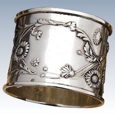 "Antique French Sterling Silver 2"" Napkin Ring, Ornate Bas Relief Flowers & Foliage Pattern"