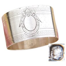 Antique French Sterling Silver Napkin Ring, Guilloche Style Decoration, no Monogram