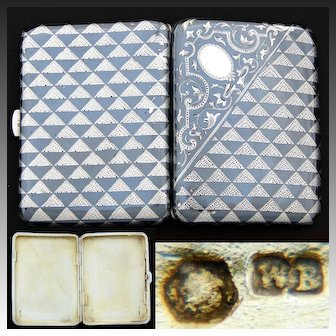 Antique Austrian Hallmarked Sterling Silver Niello Cigarette, Business Card Case, Ornate