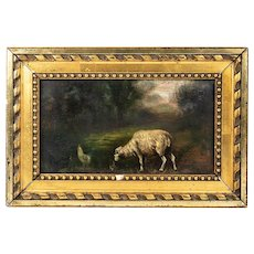 Antique French Oil Painting, Sheep and Chicken in Meadow, Frame - Doll House Size