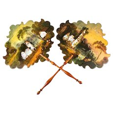 Fine Antique Victorian Papier Mâché Face Screen Pair, (2) Hand Painted, MOP, Castle Scenes