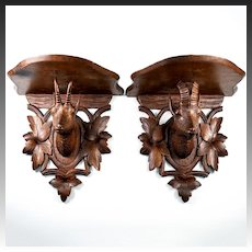 Antique HC Wood Black Forest Wall or Bracket Shelf Pair, Mountain Goat Bust, Plaque