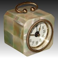 """Lovely Vintage German Mother of Pearl Cased 2.5"""" Tall Travel Alarm Clock, Carriage Style"""