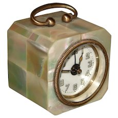"Lovely Vintage German Mother of Pearl Cased 2.5"" Tall Travel Alarm Clock, Carriage Style"